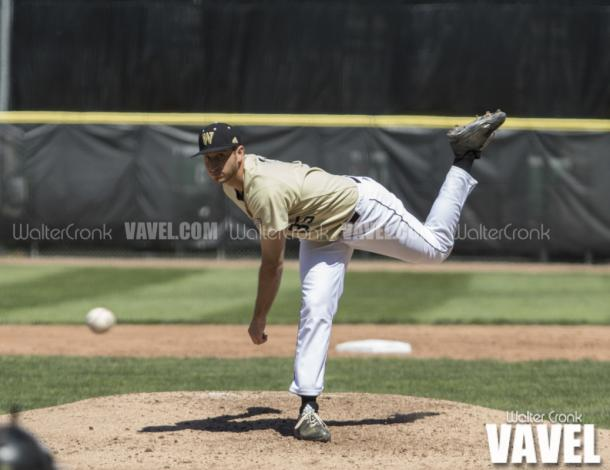 Starting pitcher Jacob Piechota (35) pitched 5.1 innings and only allowed 1 run. Photo: Walter Cronk