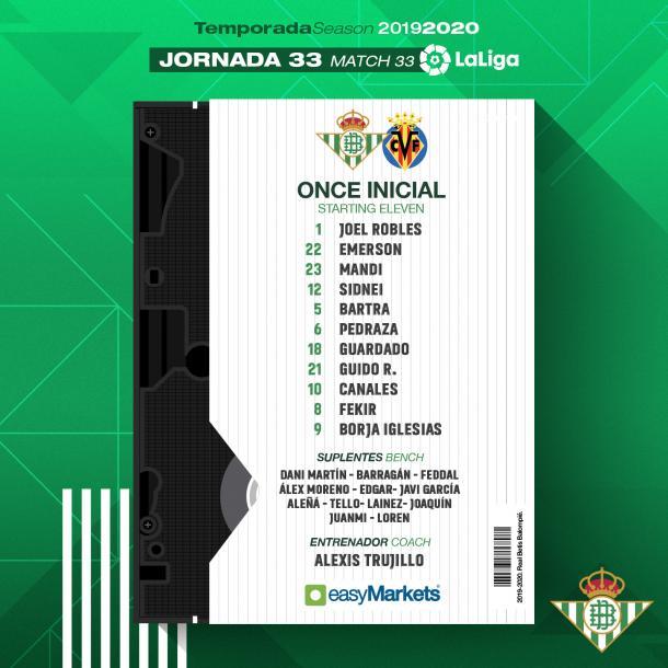 Once del Betis / Foto: @RealBetis