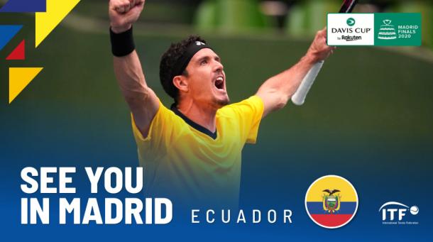 Ecuador, primer clasificado a las finales de la Copa Davis. Imagen: @DavisCup.