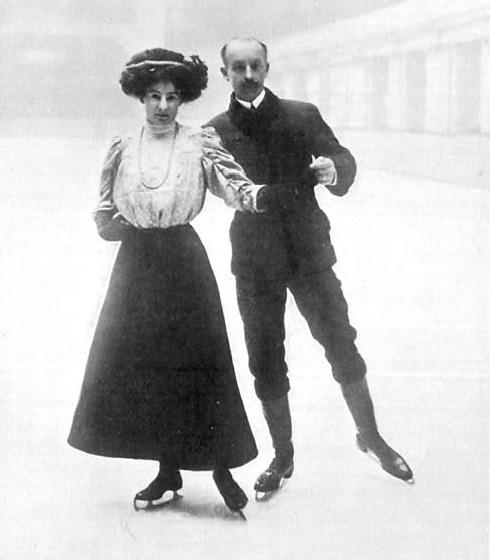 """Edgar Syers y su esposa Florence """"Madge"""" Syers-Cave, medalla de bronce en los Juegos Olímpicos de Londres 1908. PD."""