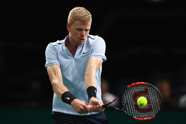 Kyle Edmund crushes a backhand. Photo: Dean Mouhtaropoulos/Getty Images