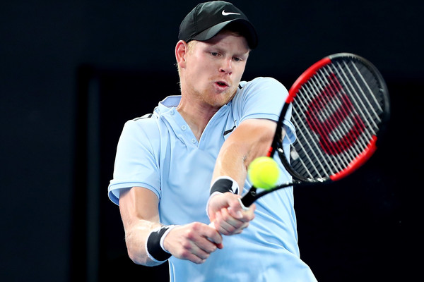 Kyle Edmund strikes a backhand during his second round win. Photo: Chris Hyde/Getty Images