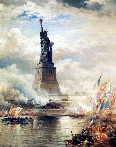 Inauguración de la Estatua de la Libertad iluminando al Mundo (1886), de Edward Moran (1829-1901). Museo de la Ciudad de Nueva York. PD.