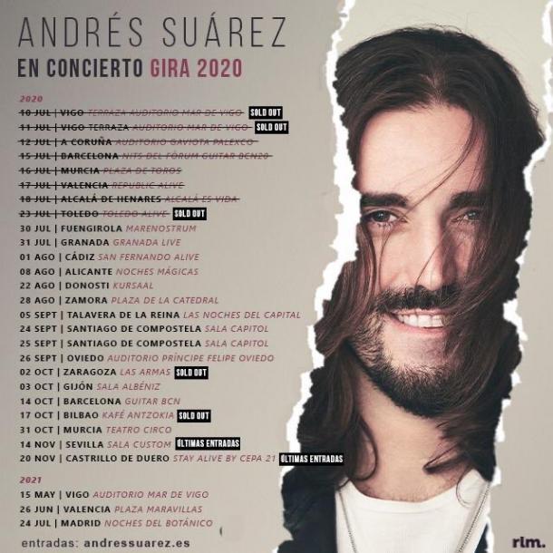 Fechas de la gira Andrés Suárez // Image: Twitter @andressuareztwi