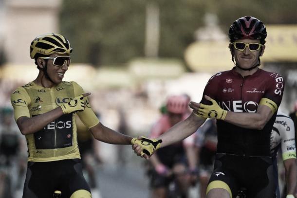 Egan Bernal y Geraint Thomas, integrantes del Team INEOS | Foto: @CaracolPlay