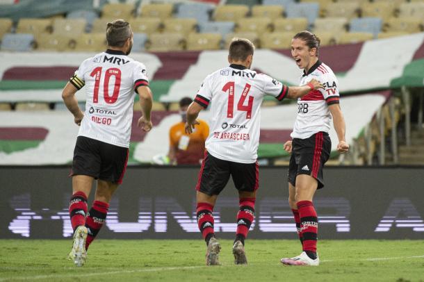 Vibração do gol de Filipe Luís (Foto: Alexandre Vidal / Flamengo)