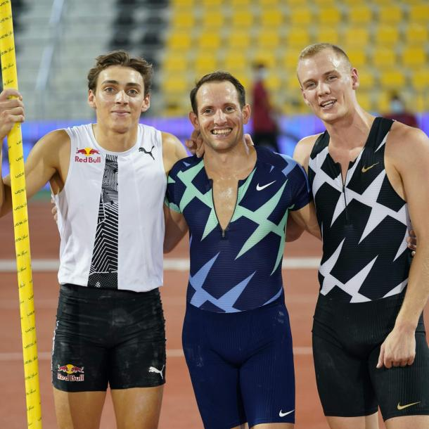 Mondo Duplantis, Renaud Lavillenie and Sam Kendricks | Photo: Matthew Quine