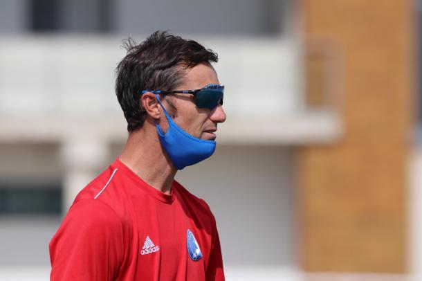 Iván Helguera, durante un entrenamiento de Las Rozas CF   Fuente: @LasRozas_CF