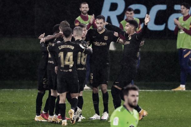 Los jugadores del Barça celebrando un gol. | Foto: FC Barcelona