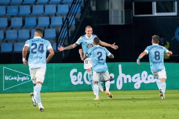 Iago Aspas celebrando el gol de la victoria frente al Valencia CF / Twitter: RC Celta de Vigo