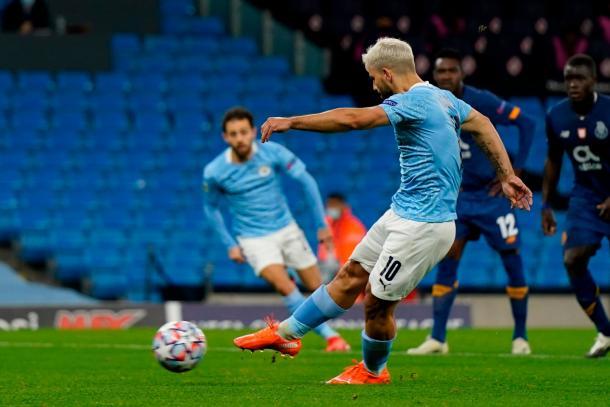 Agüero ejecutando el penalti    Fuente: Manchester City