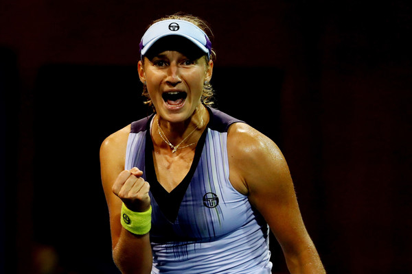 Makarova celebrates her first-ever win over Caroline Wozniacki at the US Open   Photo: Al Bello/Getty Images North America