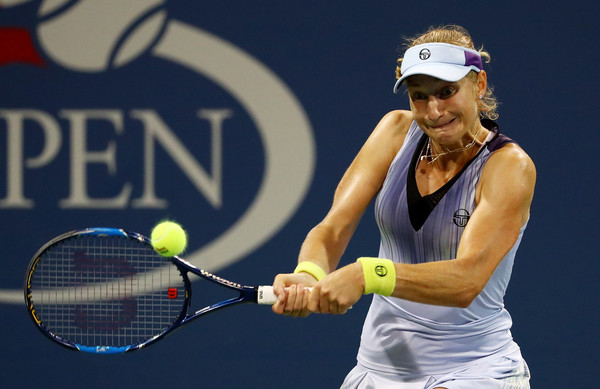 Ekaterina Makarova in action during her first career win over Wozniacki | Photo: Al Bello/Getty Images North America