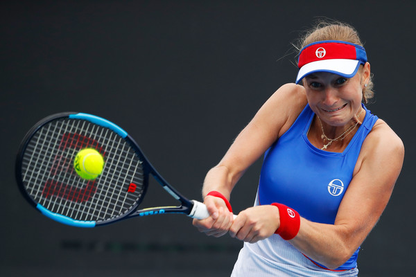 Ekaterina Makarova in action at the Australian Open where she reached the doubles final alongside Elena Vesnina | Photo: Scott Barbour/Getty Images AsiaPac