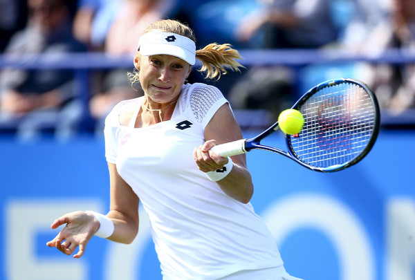 Ekaterina Makarova hits a forehand in Eastbourne. Photo: Jordan Mansfield/Getty Images