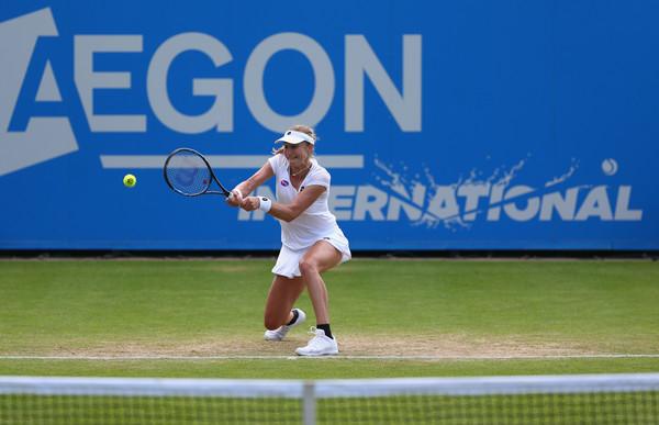 Ekaterina Makarova in action against Andrea Petkovic. Photo: Steve Bardens/Getty Images