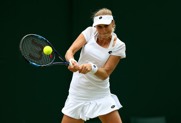 Ekaterina Makarova hits a backhand at last year's Wimbledon Championships | Photo: Julian Finney/Getty Images Europe