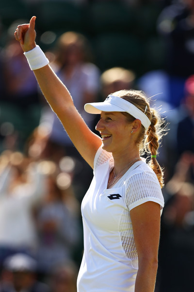 Ekaterina Makarova celebrates her huge victory over Petra Kvitova last year | Photo: Clive Brunskill/Getty Images Europe