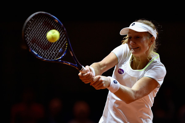 Ekaterina Makarova in Porsche Tennis Grand Prix action. Photo: Dennis Grombkowski/Bongarts