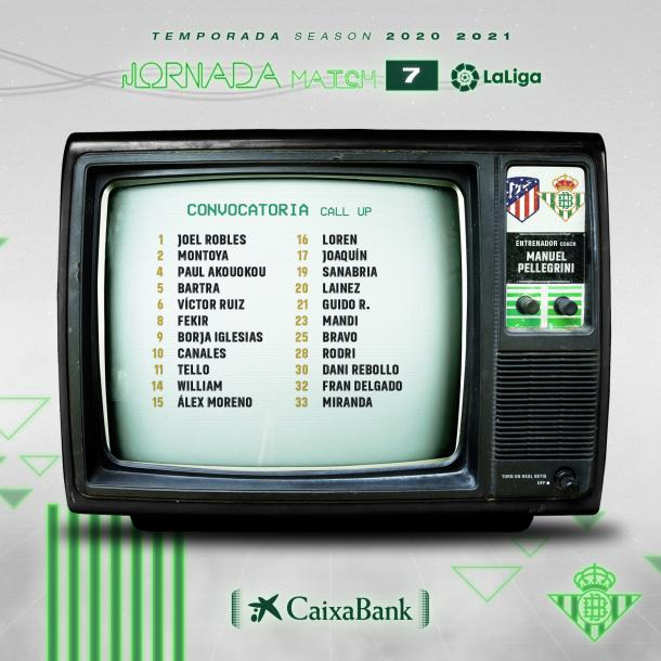 Convocatoria Real Betis Balompié / Twitter: Real Betis Balomp