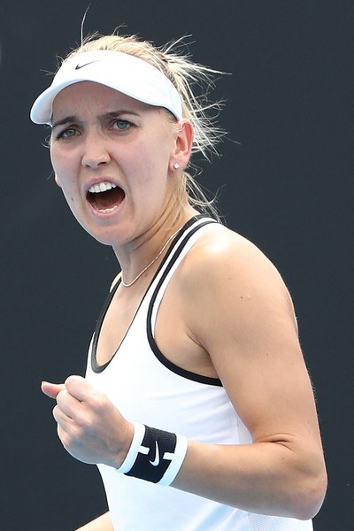 Elena Vesnina celebrates during the match   Photo: Scott Barbour/Getty Images AsiaPac