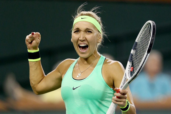 Delight: Elena Vesnina celebrates after reaching her first ever Premier Mandatory final | Photo: Matthew Stockman/Getty Images North America