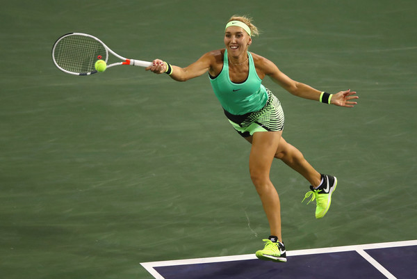Elena Vesnina in action at the BNP Paribas Open | Photo: Clive Brunskill/Getty Images North America