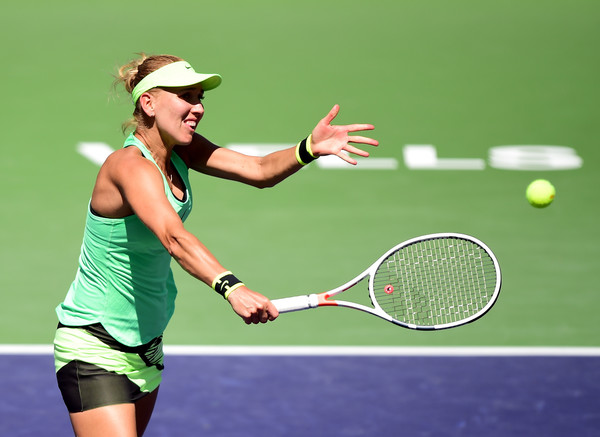 Elena Vesnina hits a backhand volley at the BNP Paribas Open | Photo: Harry How/Getty Images North America