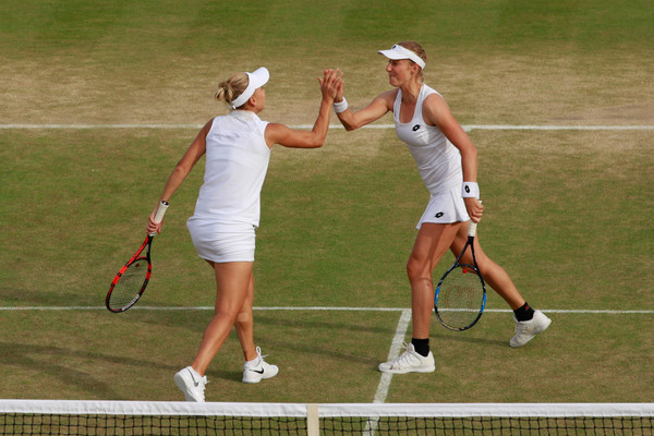 Ekaterina Makarova and Elena Vesnina celebrates winning a point back in 2016, where they exited in the quarterfinals | Photo: Adam Pretty/Getty Images Europe