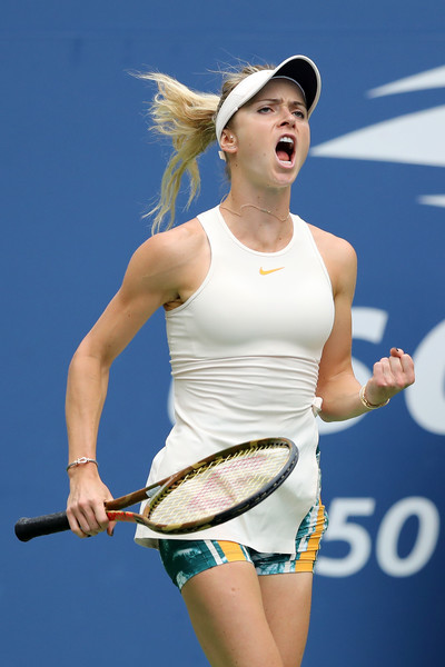 Elina Svitolina celebrates the win | Photo: Elsa/Getty Images North America
