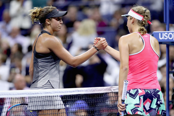 Elise Mertens and Madison Keys share a handshake after the encounter | Photo: Matthew Stockman/Getty Images North America