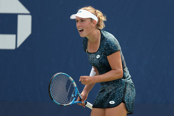 Elise Mertens celebrates winning a point at the US Open | Photo: Matthew Stockman/Getty Images North America