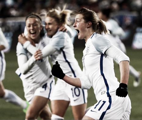 Ellen White celebrates her game-winner against the United States (Phote: Getty/Jeff Zelevansky)