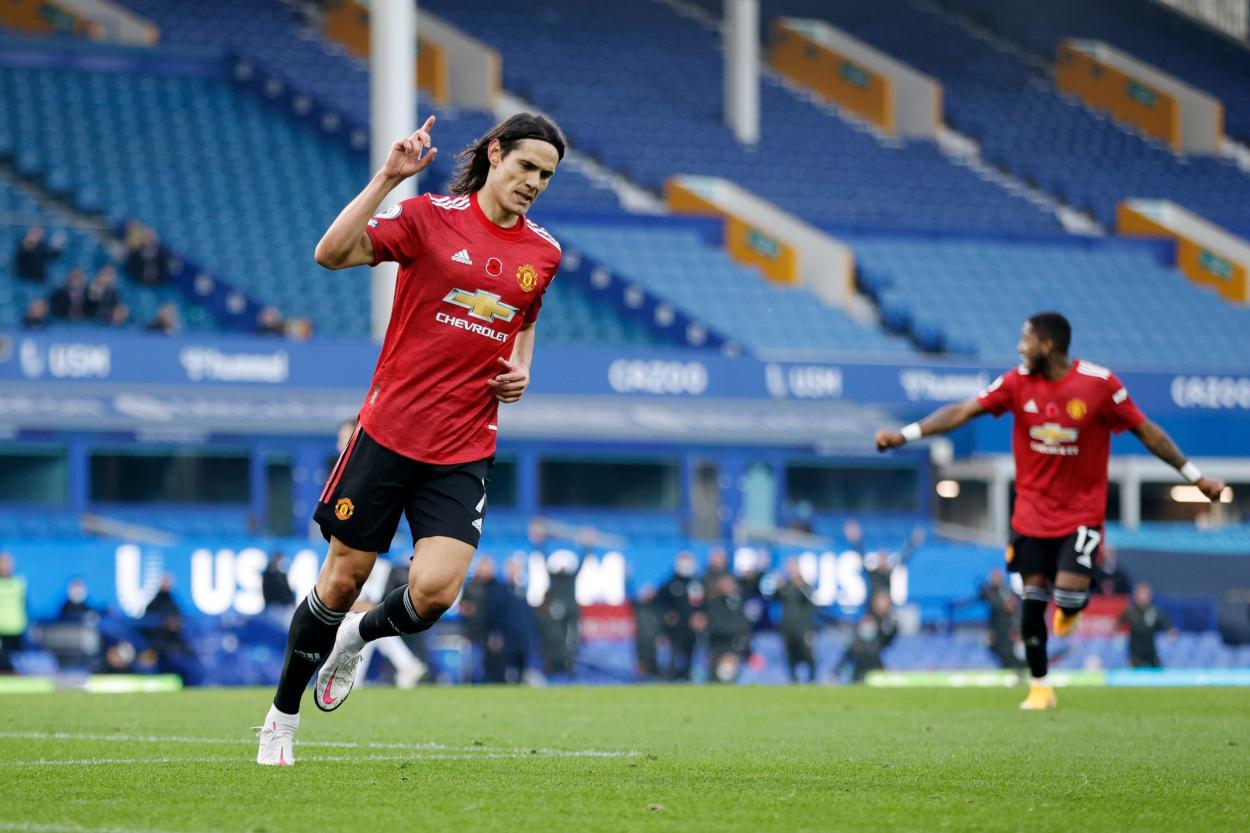 Cavani celebrando su primer gol con el United / FOTO: Premier League