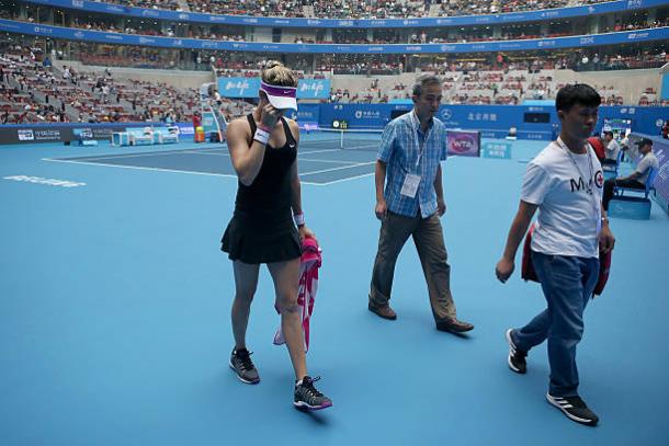 Eugenie Bouchard was forced to retire from the China Open due to dizziness, a side-effect of her fall (Getty/Emmanuel Wong)