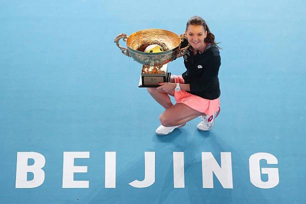 Agnieszka Radwanska after winning the title in Beijing last year (Getty/Emmanuel Wong)