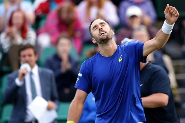 The moment of triumph for Steve Johnson. Photo: Getty
