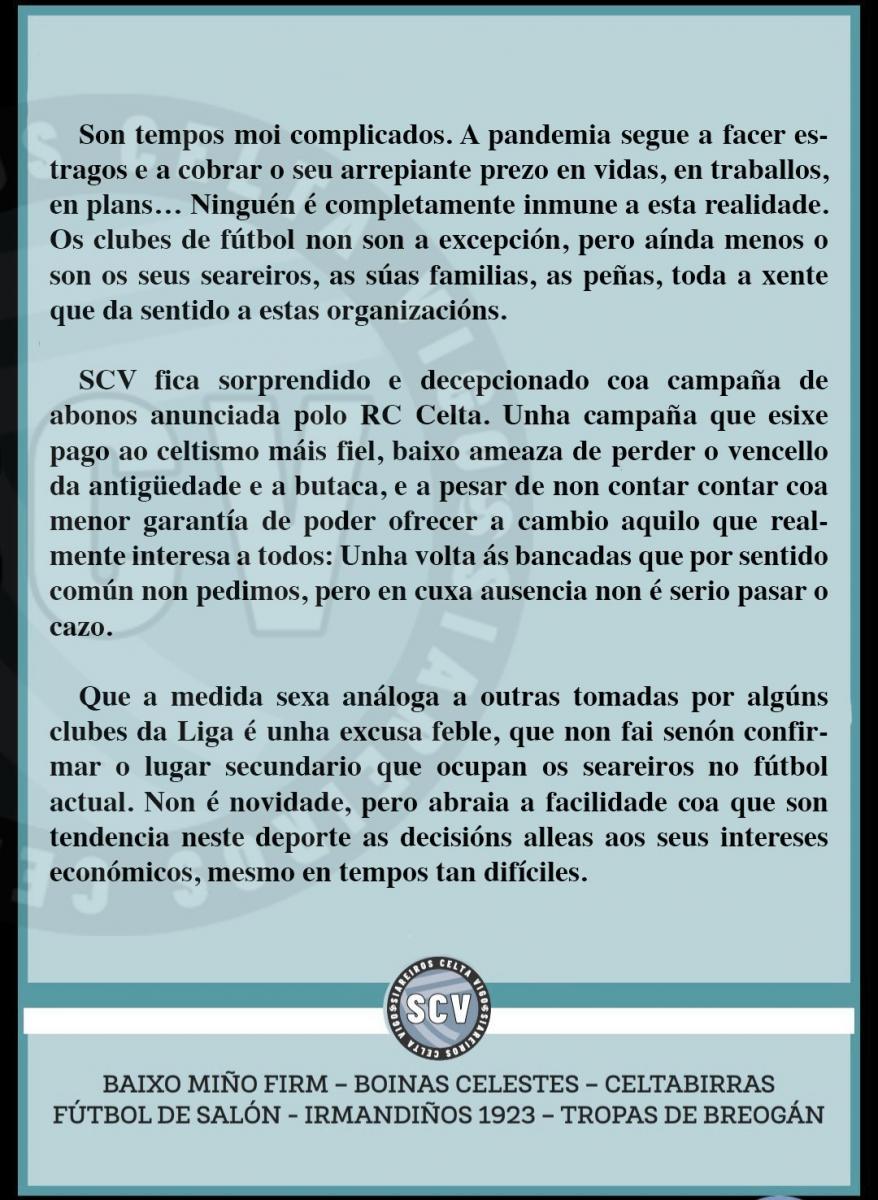 Comunicado de Siareiros Celta Vigo. | Foto: Twitter