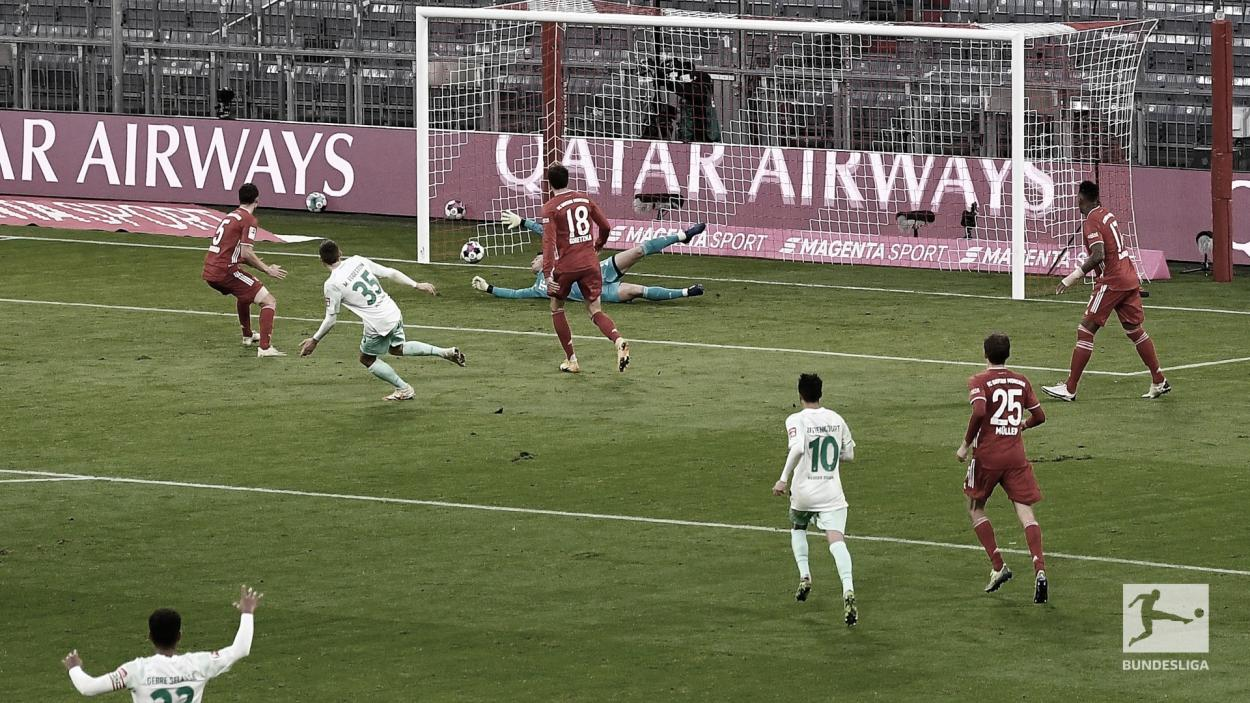 Gol del Bremen al final del primer tiempo. / Twitter: SV Werder Bremen