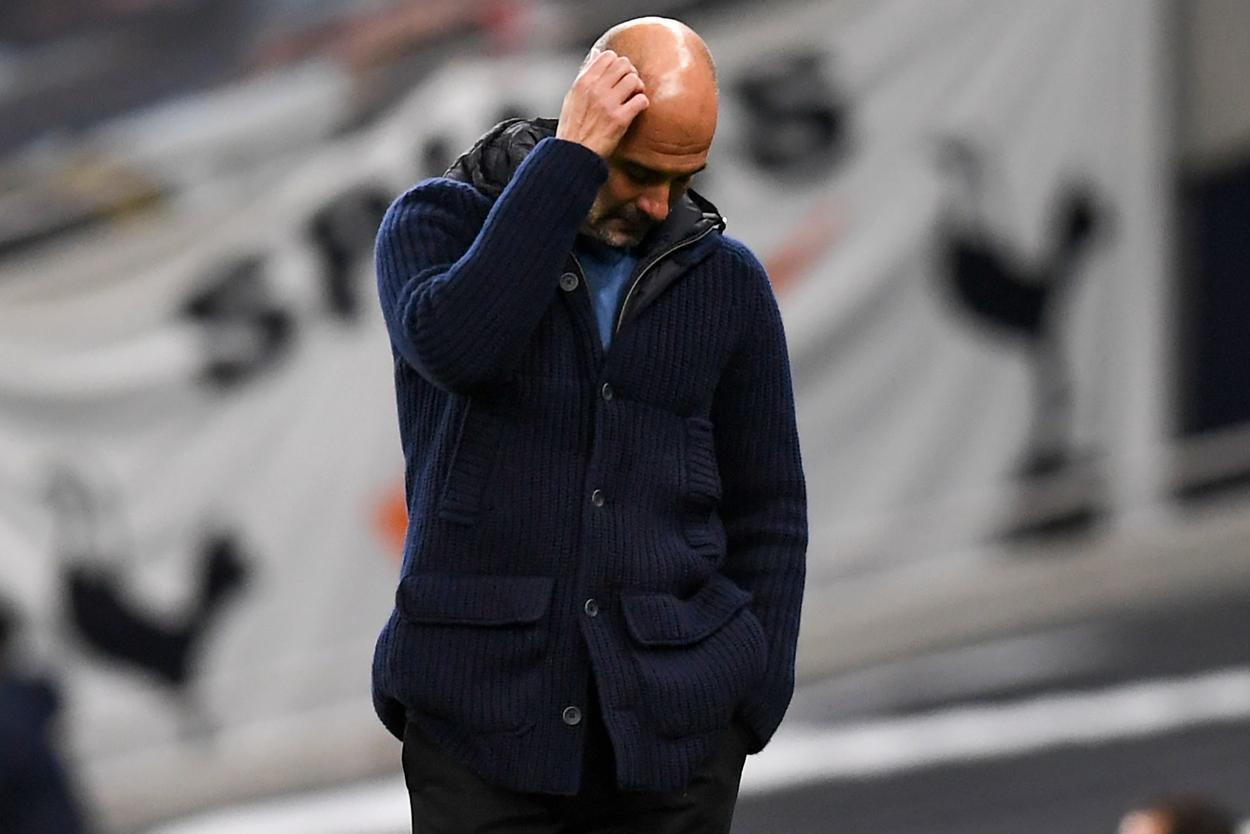 Guardiola lamentándose durante el partido / FOTO: Premier League
