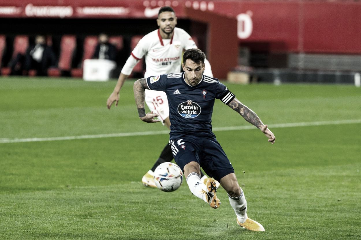 Hugo Mallo durante el partido. | Foto: LaLiga.