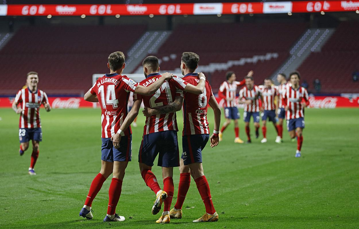 Celebración del gol frente al FC Barcelona.