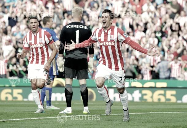 Bojan Krkic celebrando uno de sus tantos con el Stoke City. Foto: Reuters.