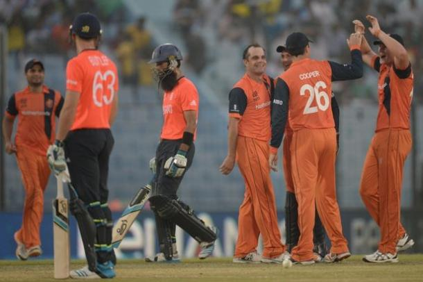 The Netherland players celebrating during their win against England in the 2014 World T20 | Photo: Getty Images