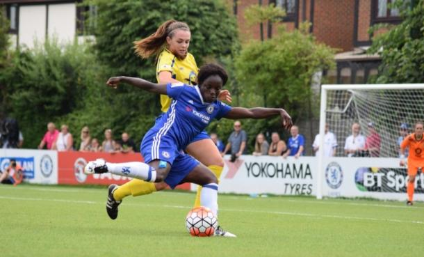 Aluko in action against Doncaster Belles | Photo: VAVEL's Chloe Leadbeater