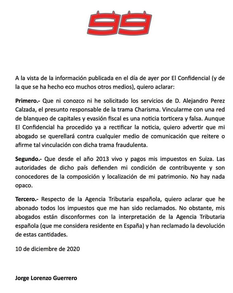 Comunicado oficial de Jorge Lorenzo. Foto: twitter.com