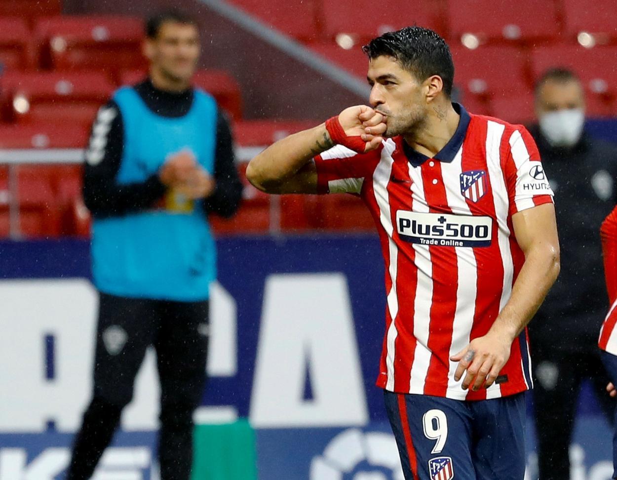 Luis Suárez, anotando su séptimo gol en la liga. / La Liga oficial