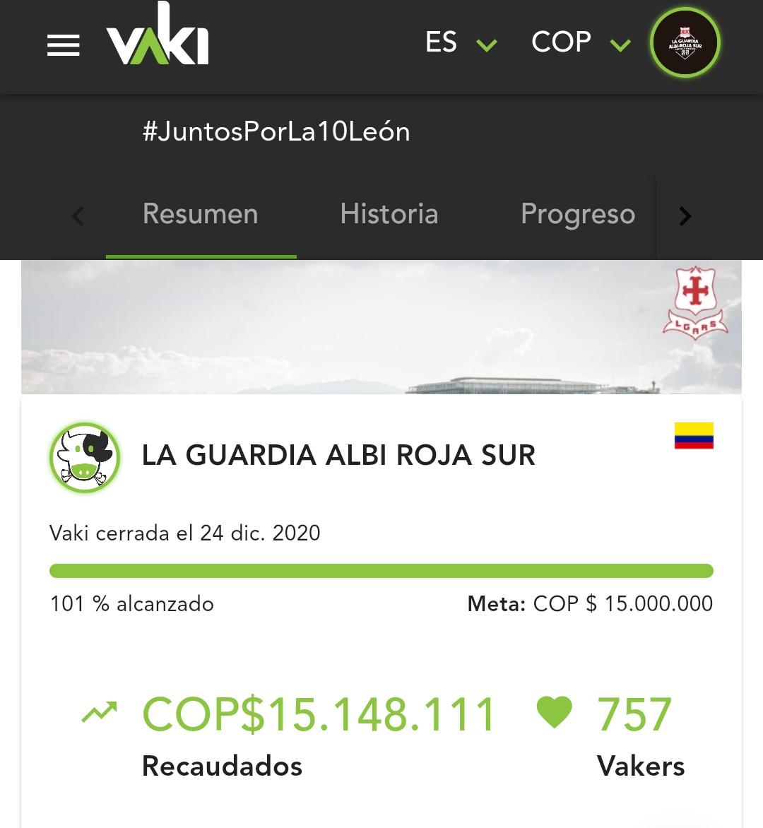 La barra popular de Santa Fe lideró una campaña de donación que sobrepasó los 15 millones de pesos. Imagen: @lgars_oficial.