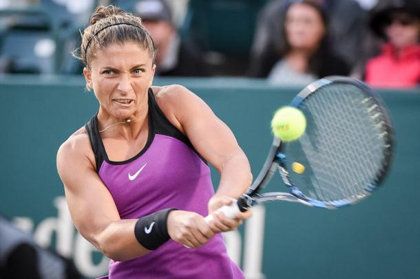 Sara Errani pounds a backhand. Photo: Volvo Car Open