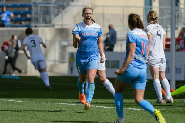 Julie Ertz celebrating goal | Photo: Chicago Red Stars